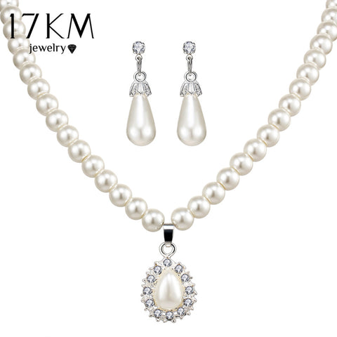 Vintage Pearl Necklace Water Drop Earrings
