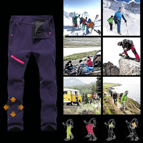 Thick Soft Warm Men / Women Windproof Elastic Trousers