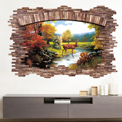 Late Autumn Forest Deer Wall Sticker Mural