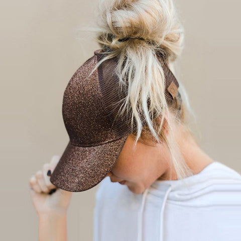 Glitter Ponytail Baseball Cap Adjustable