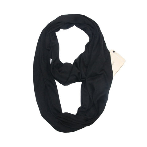 Portable Women Scarf with Zipper Pocket