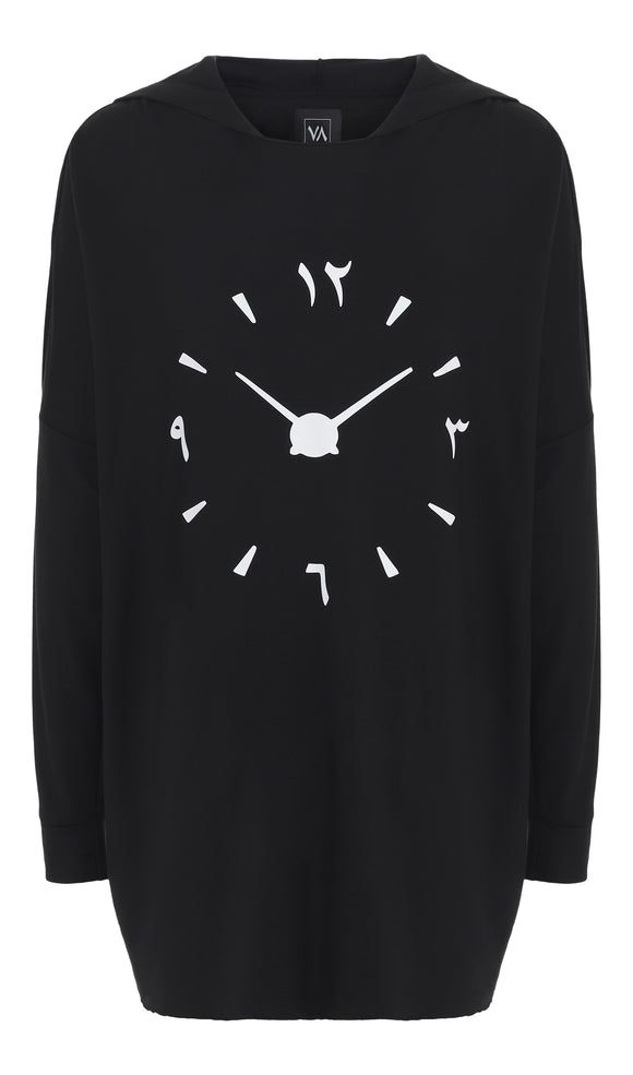 Oversized Viscose Hoodie With Arabic Watch