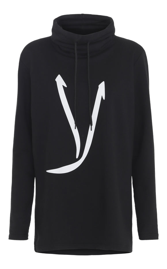 'NO' Oversized Hoodie With High Neck