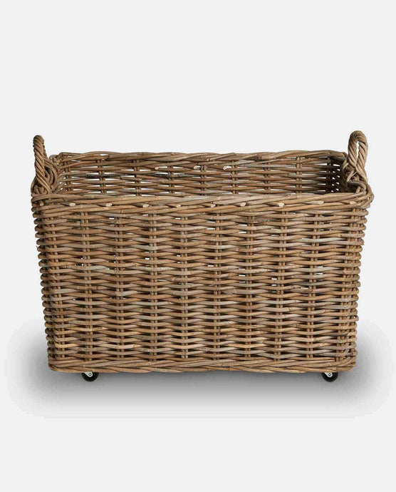 Wicker Rattan Log Basket On Wheels - Willow and Grey Interiors