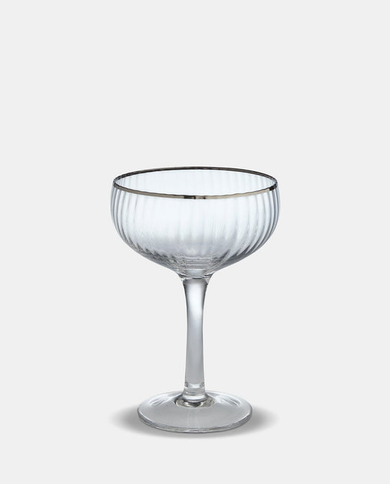 Italia Silver Rim Champagne Glass - Willow and Grey Interiors