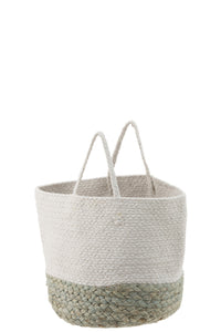 Jute White Basket With A Sage Green Border