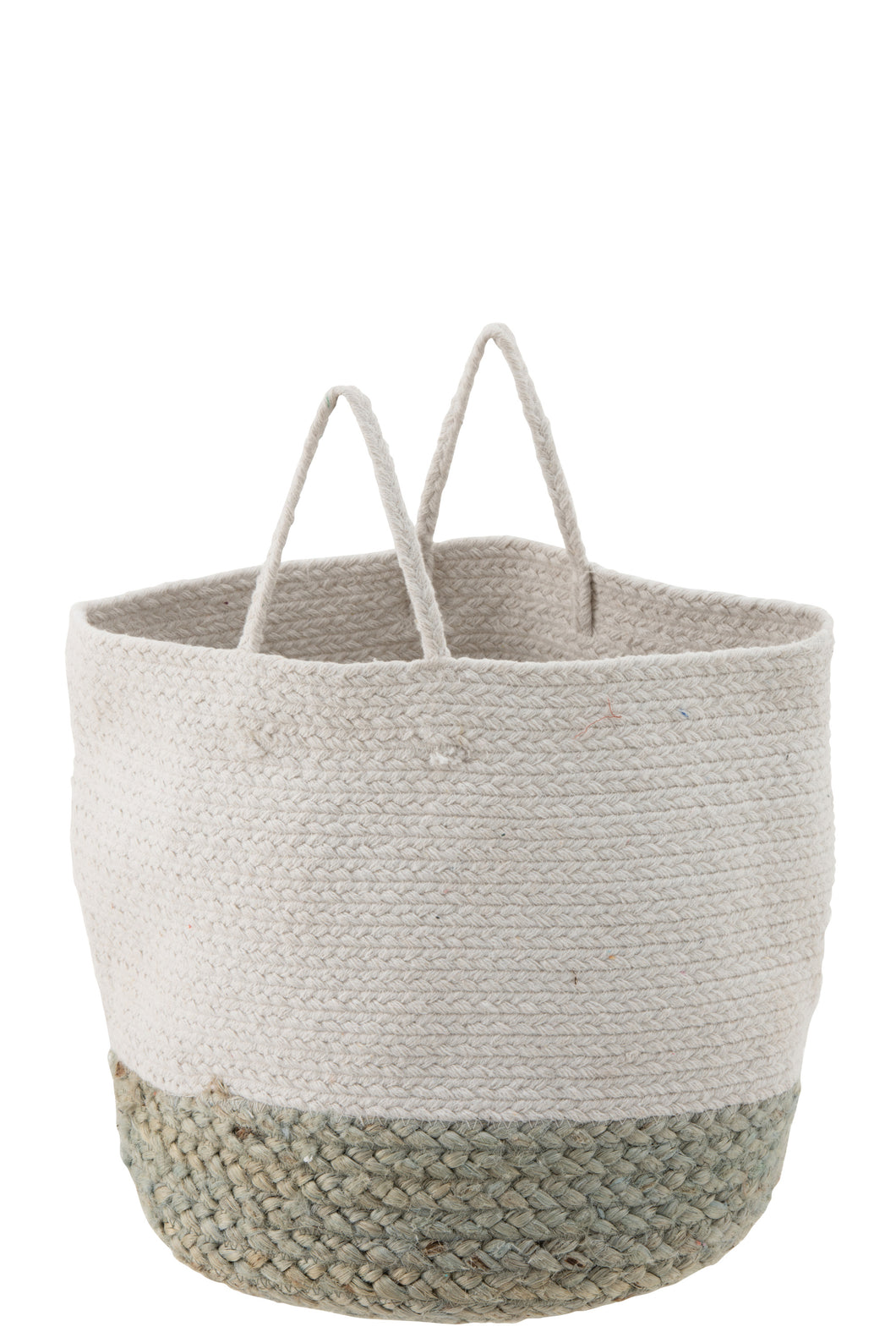 Jute White Basket With A Sage Green Border - Large