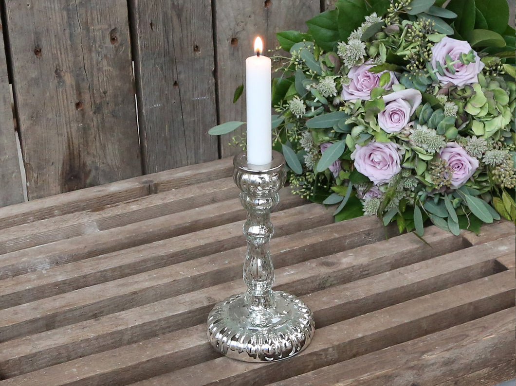 Tall Grooved Silver Candlestick