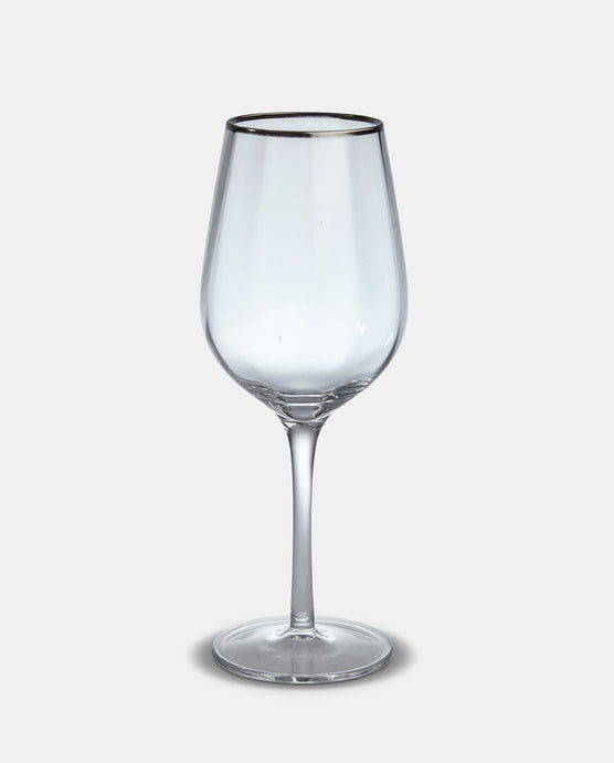 Silver Rim Wine Glass