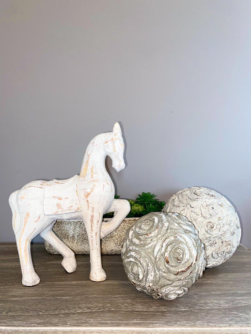 Distressed White Horse - Willow and Grey Interiors