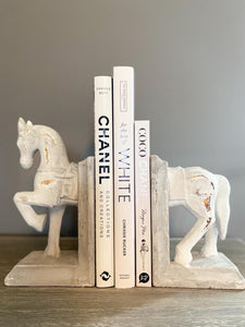 Horse book ends, antiqued white chalked effect