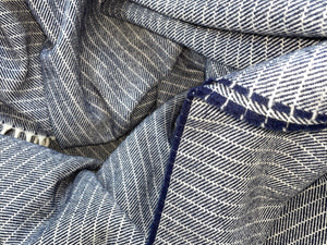 Luxury Irish Lambswool Throw - Navy Dash, Herringbone