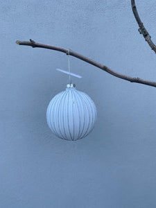 White Patterned Large Bauble