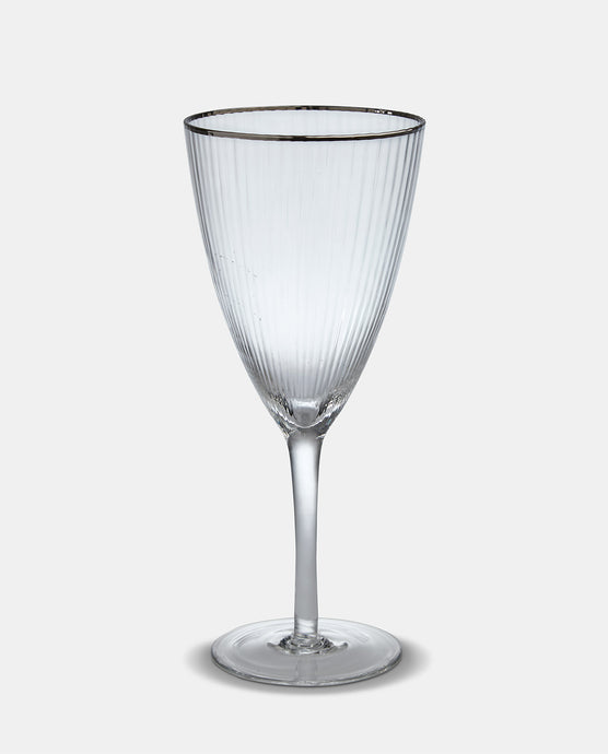 Italia Silver Rim Wine Glass