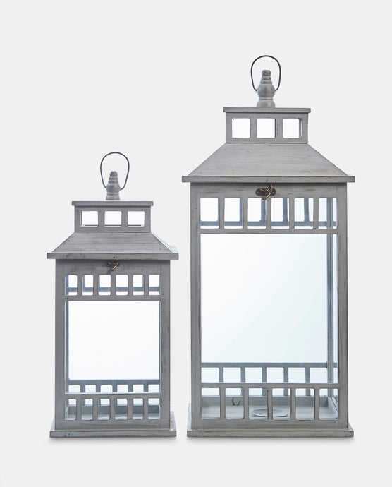 Palermo Wooden Lanterns - Set of 2