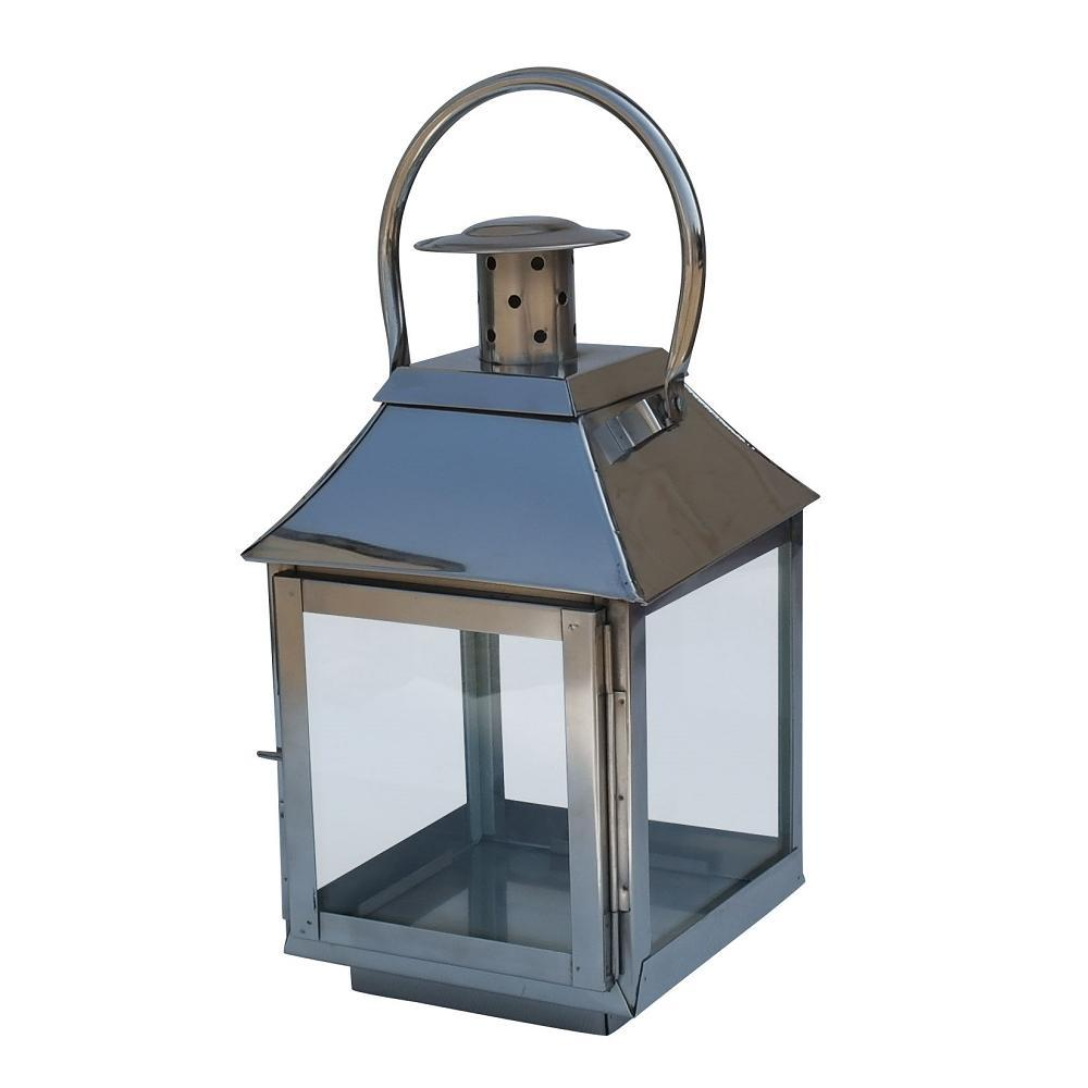 Polished Stainless Steel Glass Lantern - Small - Willow and Grey Interiors