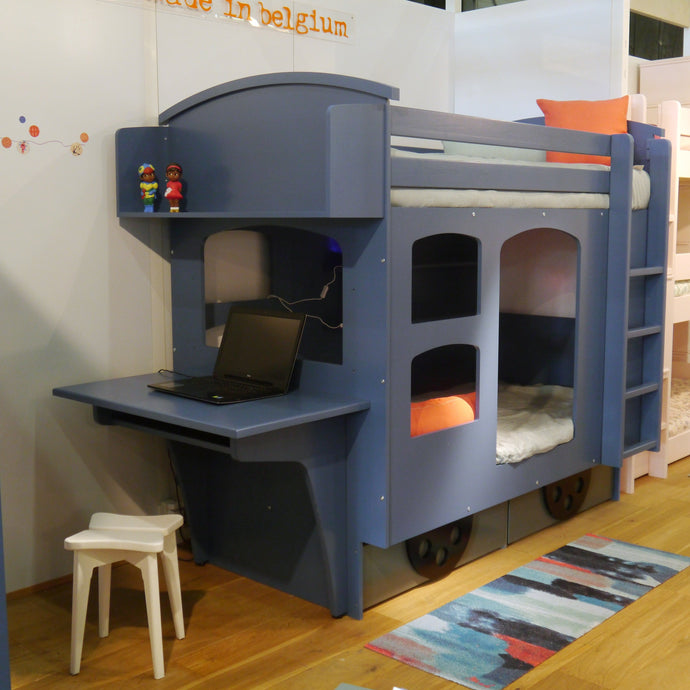 Child's bunk bed with desk