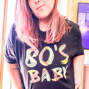 """80's Baby"" Short Sleeve Crew Neck Graphic Tee-Graphic Tees-The Rose Giraffe"