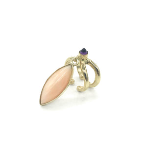 Baby Ear Cuff with Marquis Coral and Amethyst Bullet