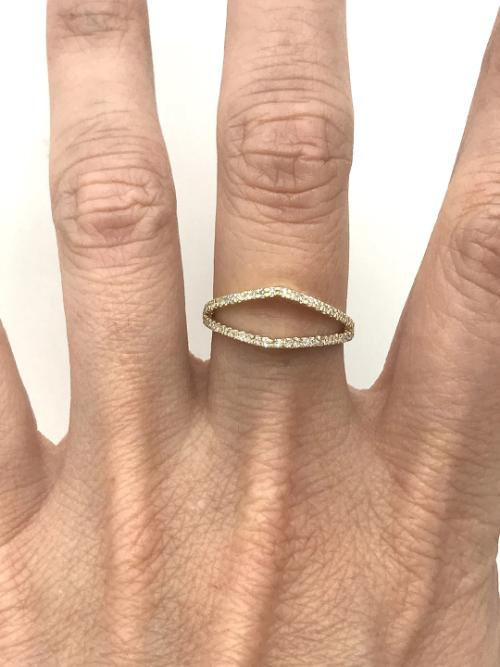 Petal Buttress Ring with Diamond Pave