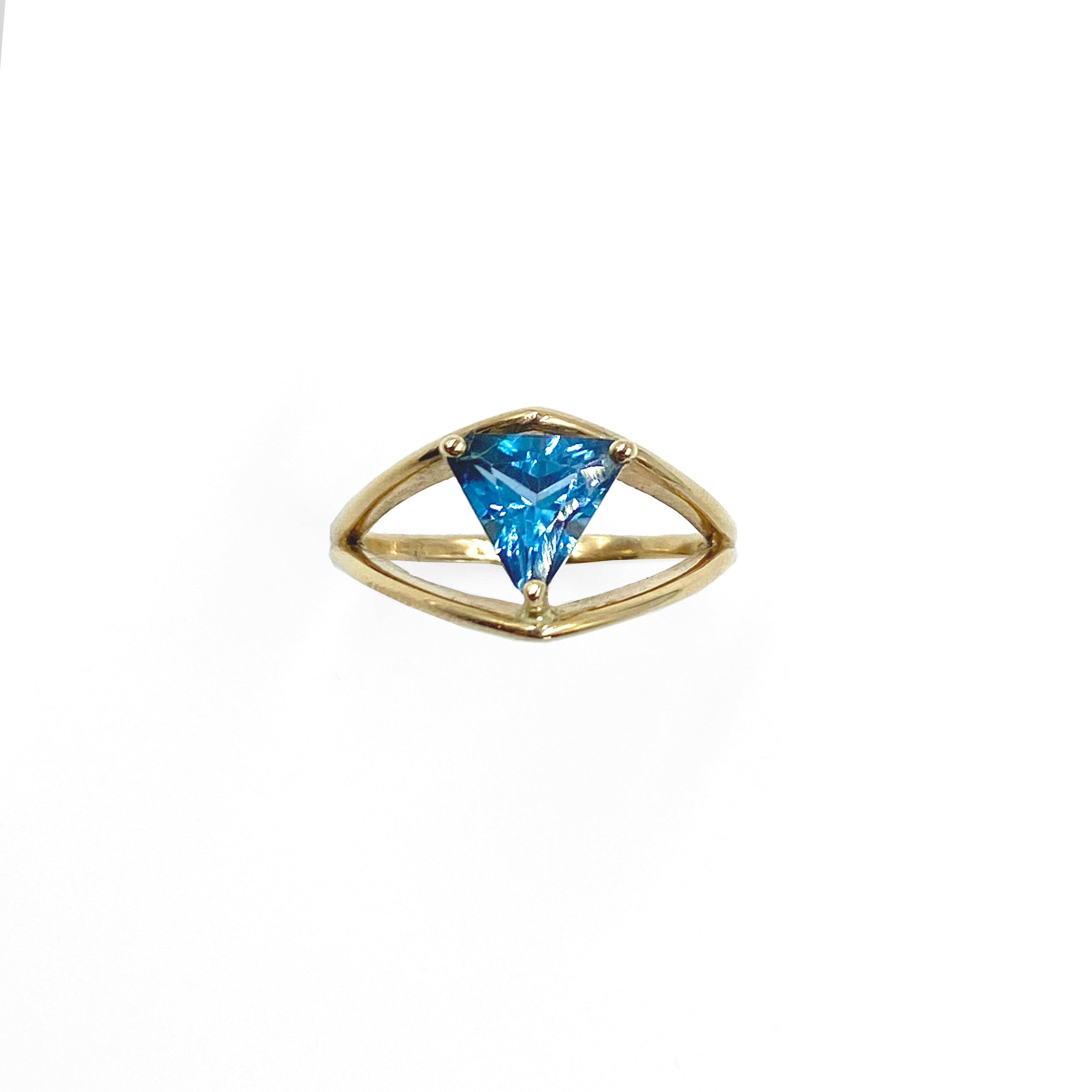 Petal Buttress Ring and Blue Topaz Trillion