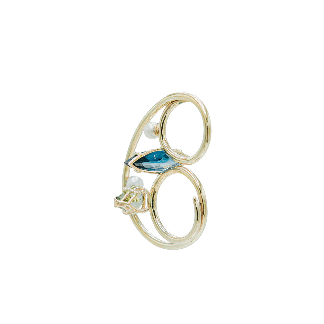 Double Cloud Ring with Peeking Pearls, Green Amethyst, and Blue Topaz.