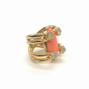 Four-Eyed Opal Coral Ring