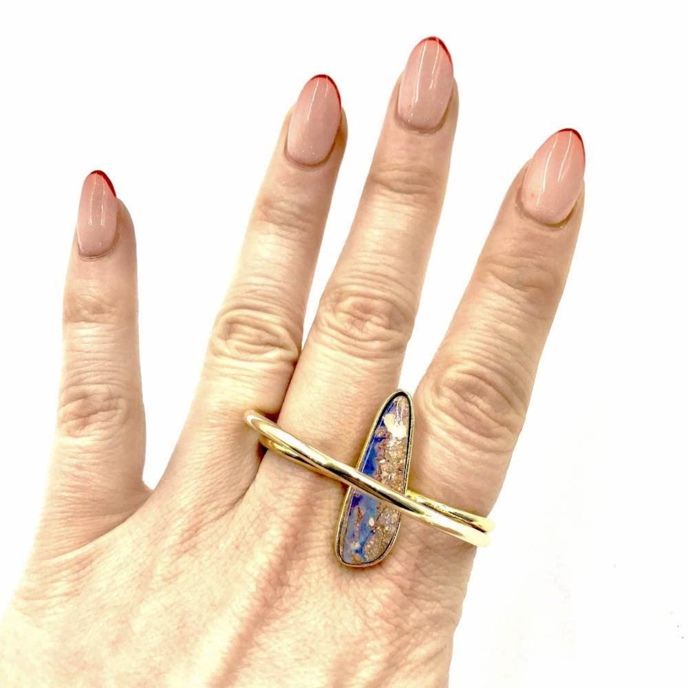 Double Cloud Ring Featuring Slit Opal