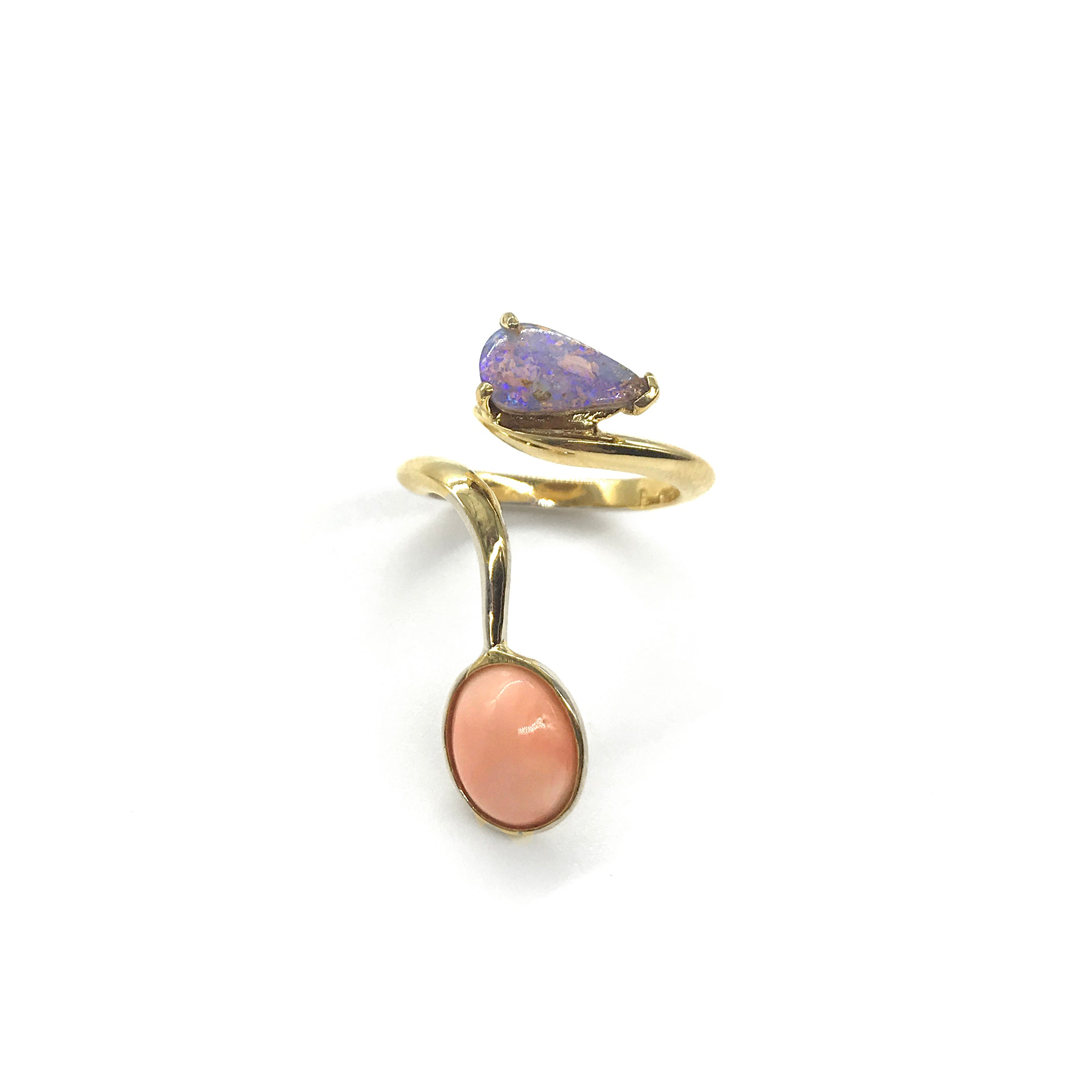 Coral and Opal Ribbon Ring