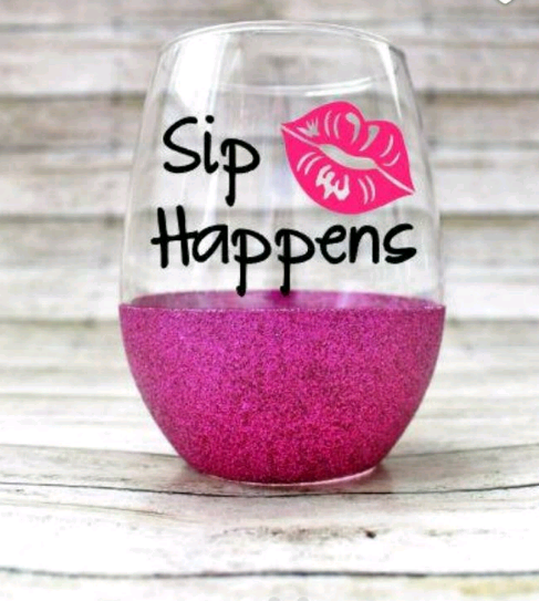 Sip Happens Wine Glass Stemless Wine Glass Funny Wine Glass