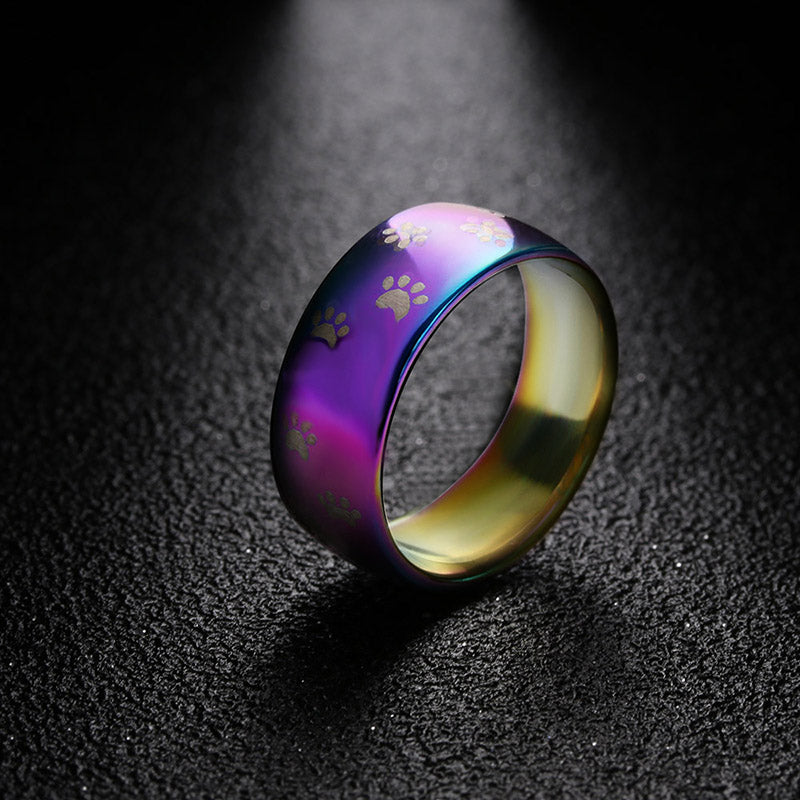 Rainbow dog paw print Stainless Steel ring