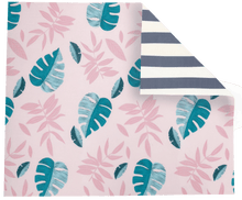 Pink Leaf/Grey Stripe Play Mat
