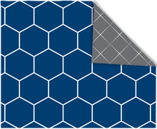 Rectangular Blue Hexigon/ Charcoal