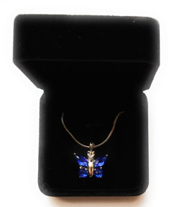 Blue Butterfly Urn Necklace for Ashes - Cremation Memorial Pendant