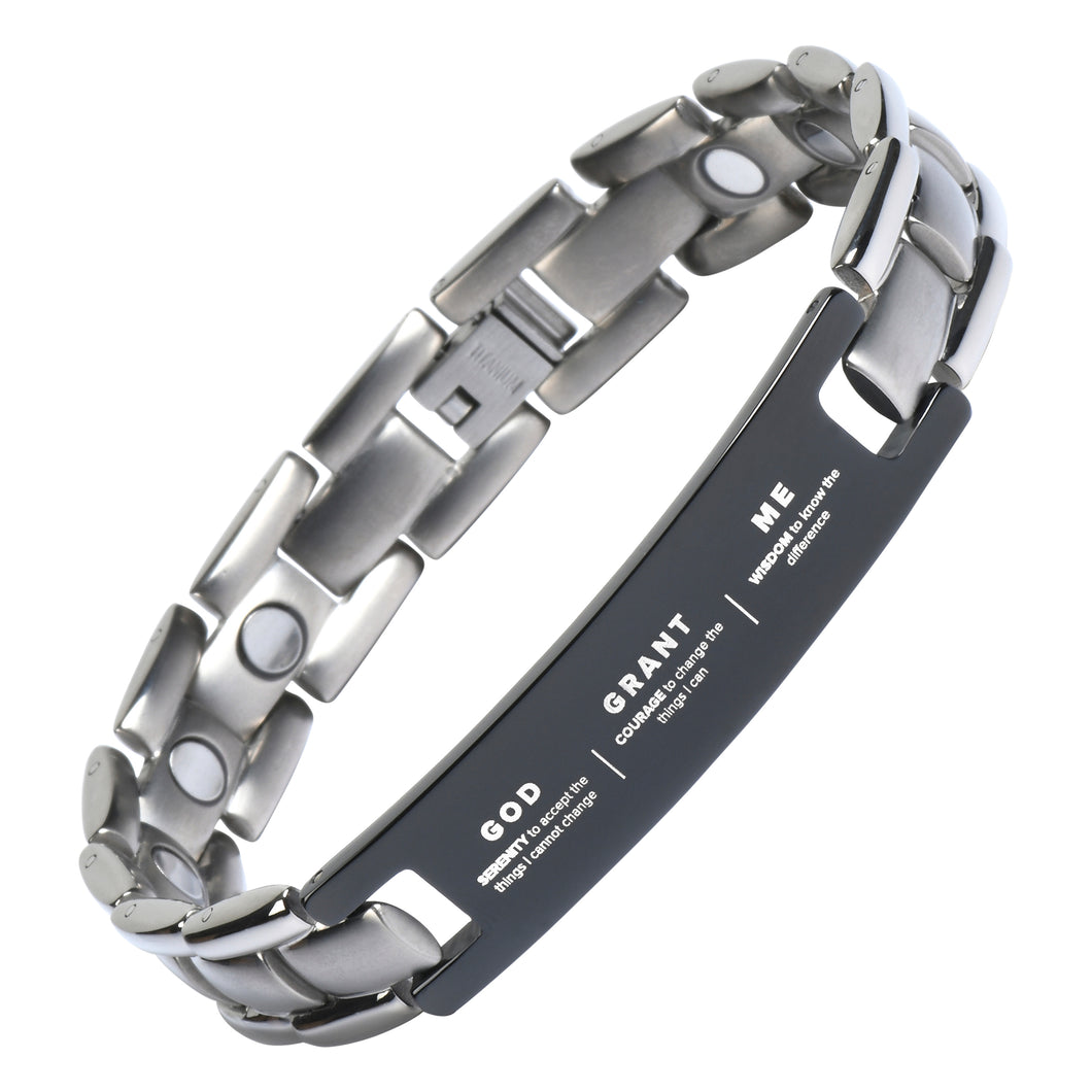 Serenity Prayer Bracelet - Titanium Magnetic Therapy Jewelry - Unisex, Adjustable