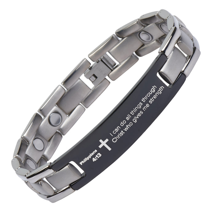 Philippians 4:13 - Titanium Prayer Bracelet - Magnetic Therapy