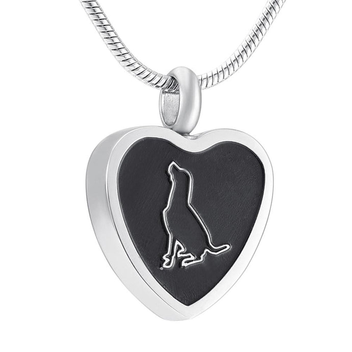 Dog Cremation Necklace Urn for Ashes - Pet Memorial Jewelry Pendant - Gift Box Included