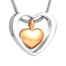 Two Hearts Urn Necklace for Ashes - Cremation Memorial Keepsake Pendant - Johnston's Cremation Jewelry - 1