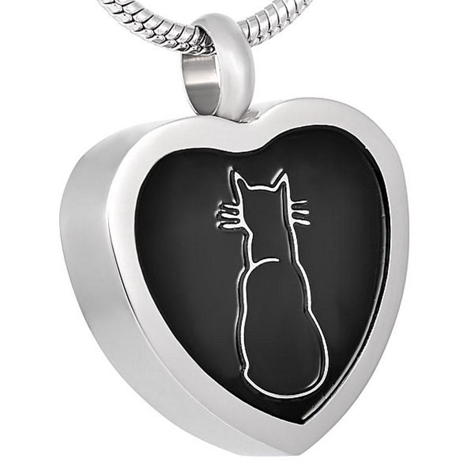 Cat Urn Necklace for Ashes - Cremation Memorial Pet Keepsake Pendant - Johnston's Cremation Jewelry - 1