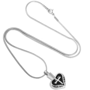 Heart and Cross Urn Necklace for Ashes - Cremation Memorial Keepsake Pendant - Johnston's Cremation Jewelry - 3