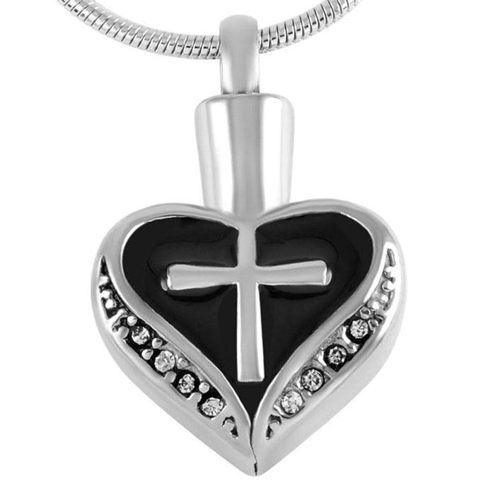 Heart and Cross Urn Necklace for Ashes - Cremation Memorial Keepsake Pendant - Johnston's Cremation Jewelry - 1