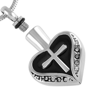 Heart and Cross Urn Necklace for Ashes - Cremation Memorial Keepsake Pendant - Johnston's Cremation Jewelry - 2