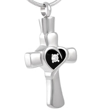 Cross Memorial Urn Necklace for Ashes - Cremation Keepsake Pendant - Johnston's Cremation Jewelry - 1