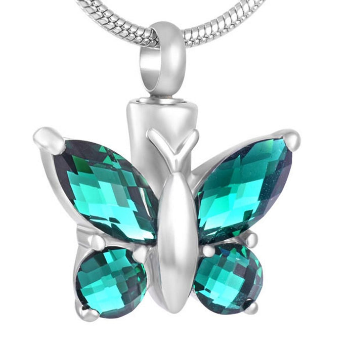 Green Butterfly Urn Necklace for Ashes - Cremation Jewelry - Johnston's Cremation Jewelry - 1