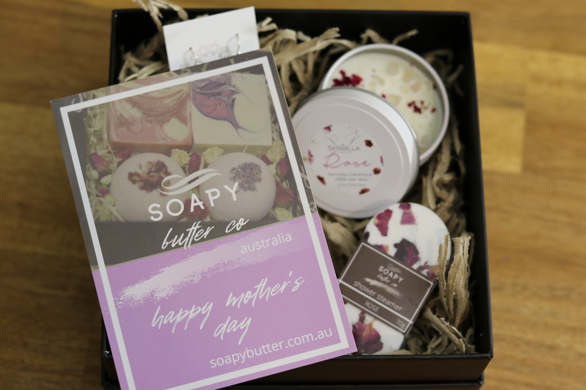 Soapy Butter Co Melbourne rose quartz candle bath bomb soap gift pack