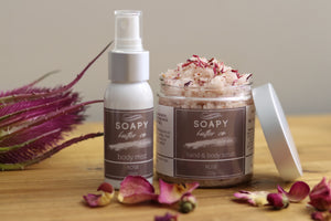 Soapy Butter Co natural rose petal hand body scrub