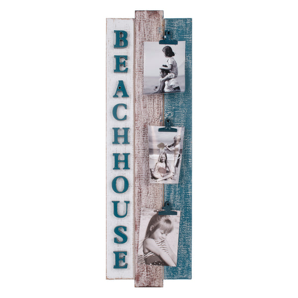 Vintage wood BEACH HOUSE wall photo frame with 3 clips