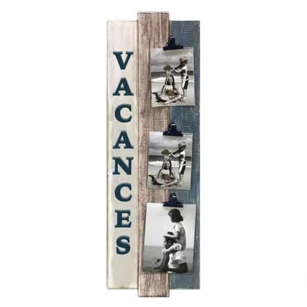Vintage wood VACANCES wall photo frame with 3 clips