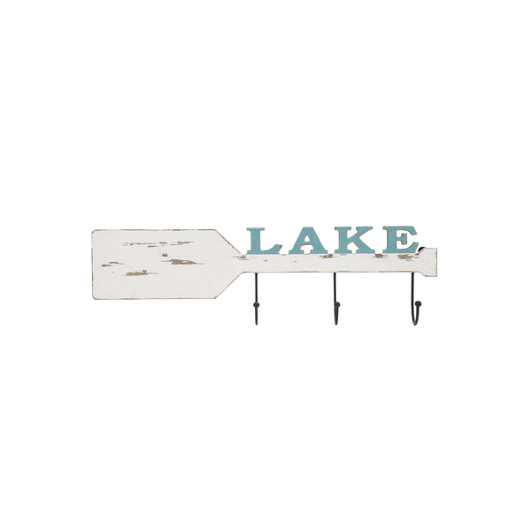 Wooden Paddle with 3 Hooks and Lake Written