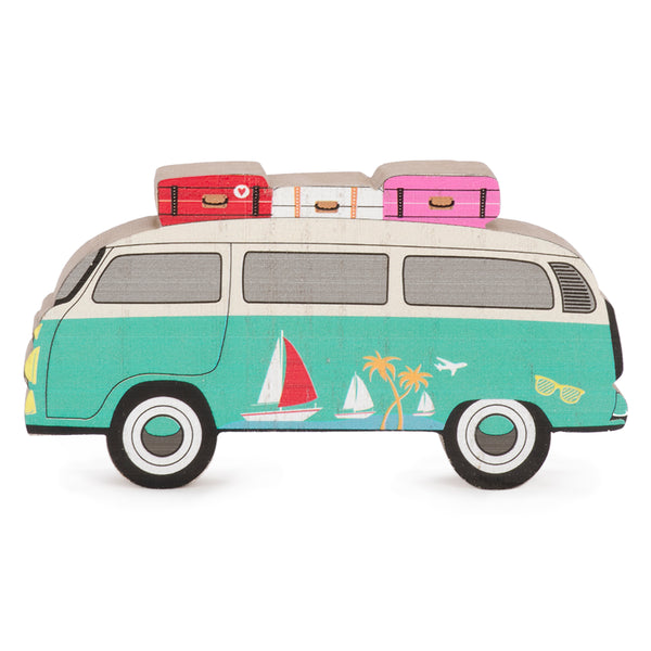 Turquoise wooden Westfalia decor